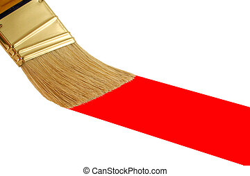 Isolated paint brush painting a red stripe - A Isolated...