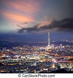 Night scenes of the Taipei city, Taiwan