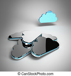 Storage backup concept - Active blue metallic cloud in front...