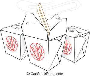 Chinese Takeout - Three boxes with Chinese takeout food and...