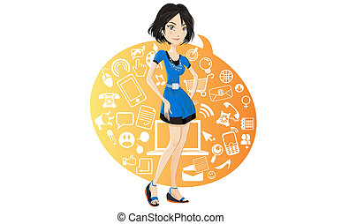 Social Networking Girl - Illustration of a social networking...