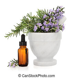 Rosemary Herb Essence - Rosemary herb in a marble mortar...
