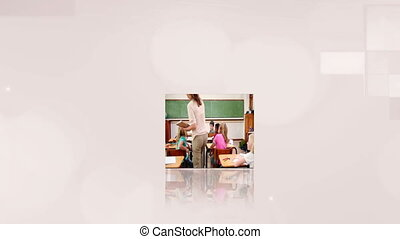 Videos of pupils on cubes - Animation of videos of pupils on...