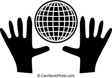 global care - simple isolated icon design of two hands...