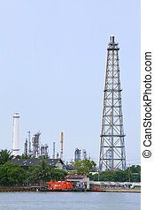 distillation Tower - Oil Refinery distillation Tower over...