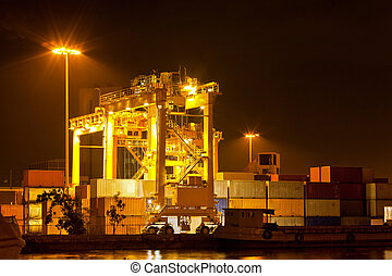 commercial container port - Mobility Crane car in commercial...