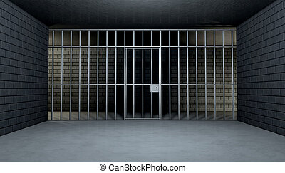 Empty Jail Cell Looking Out - The view from the inside of a...