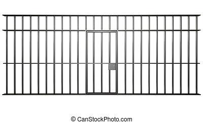 prison, cellule, barres