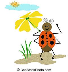 ladybug umbrella - ladybug taking a stroll holding yellow...