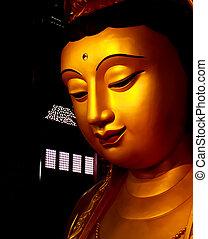 Guan Yin Statue wonderful - Gold Guan Yin Statue wonderful