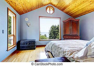 azul, dormitorio, madera, techo, Cama, interior