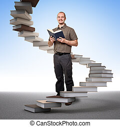 stair of learning and success - man with book and learning...