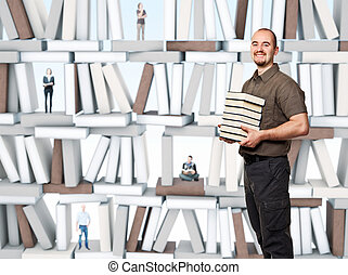 book for everyone - smiling man hold pile of books