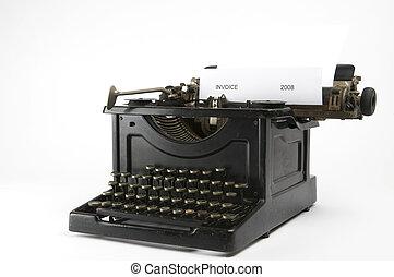 factura, Máquina de escribir