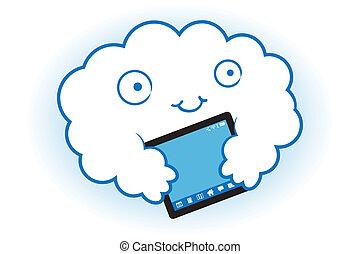 Cloud hugs the tablet