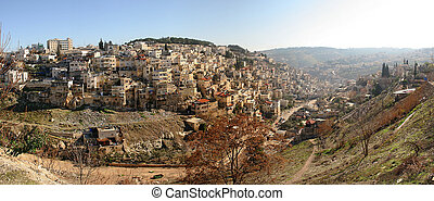 Panoramic view small palestinian village. - Panoramic view...