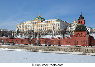 Moscow. View of Kremlin with Moskva river in foreground....