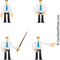 funny cartoon office worker in various poses for use in...