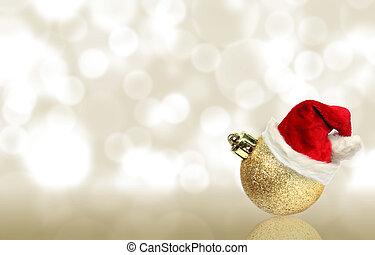 christmas ball with santa hat