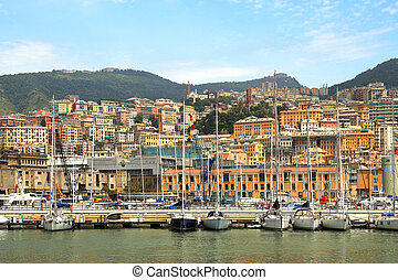 Harbor and city of Genoa, Italy. - View on harbor with boats...