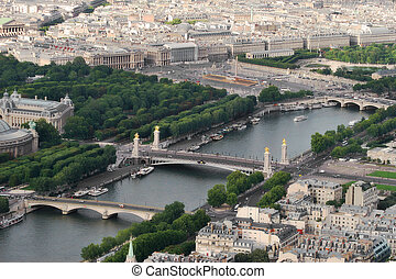 Aerial view on Paris from Eiffel Tower.