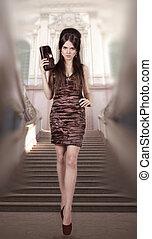 Fashion woman in gorgeous dress