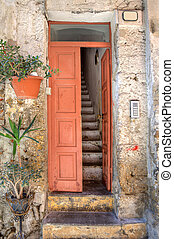 Entrance to old house Ventimiglia, Italy - Vertical oriented...