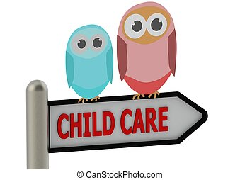 Child care - Rendered artwork with white background