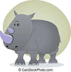 Cute Cartoon Rhino - Illustration of a tiny cartoon grey...