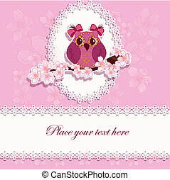 Beautiful greeting card with owl