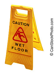 Wet floor sign board to caution people about danger and risk...