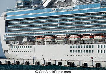 The passenger ship in port.