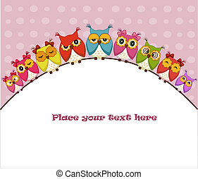 Nine colorful vector owls