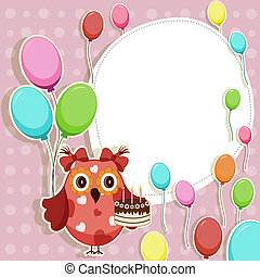 Beautiful vector card with owls
