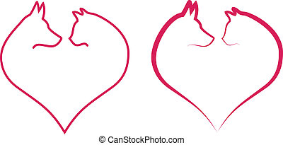 cat and dog in red heart, vector - cat and dog head in red...