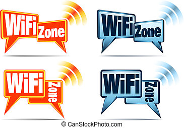 WiFi Zone Icons - Speech bubbles with signal for WiFi...