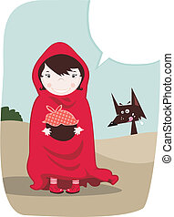 Red Riding Hood with speech balloon and funny wolf