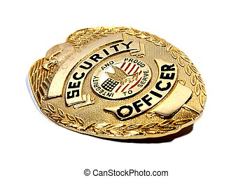 Security Badge - Isolated bronze security badge used by...