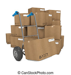 Hand Truck with Several Boxes on Background