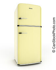 Retro yellow fridge - 3d render of a retro yellow...