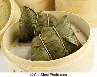 Sticky Rice Dumpling - Steamed Chinese rice dumplings zongzi...