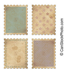 four vintage stamps with clipping path