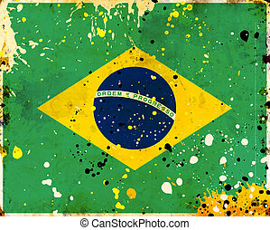 Grunge Brazil flag with stains - flag series