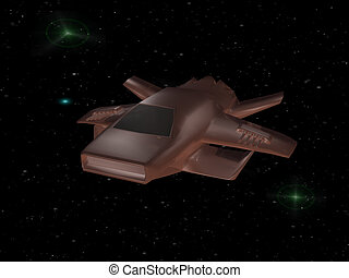 Spaceship - Battle spaceship in deep space
