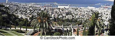 Haifa from the Bahau2019i Gardens - View of Haifa from the...
