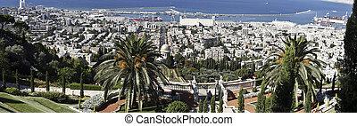 Haifa from the Baha%u2019i Gardens - View of Haifa from the...