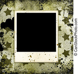 Photo frame on military grunge background