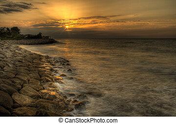 Sunset over Caspian Sea - Sunset in spring over Caspian Sea