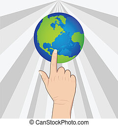 hand pushing earth