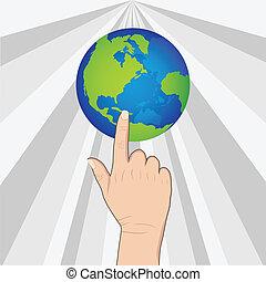 hand pushing earth
